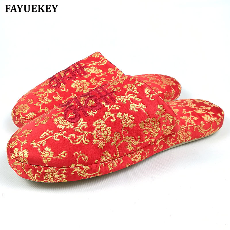 FAYUEKEY New Spring Autumn Winter Home Chinese Red Cotton-Padded Wedding Slippers Women Indoor\Floor Warm Slippers Flat Shoes vanled 2017 new fashion spring summer autumn 5 colors home plush slippers women indoor floor flat shoes free shipping