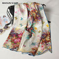 Digital Print Butterfly Flowers Pattern Silk Scarves Shawl