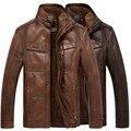 Зимние мужские теплые Натуральная Кожа меховая подкладка куртки пальто и пиджаки траншеи проложенный