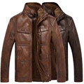 Hombres de invierno cálido forro de piel de Cuero Genuino capa de la chaqueta outwear trench acolchada