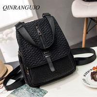 QINRANGUIO Genuine Leather Backpack Women 2019 New Design 100% Cow Leather Women Backpack Large Capacity Black School Backpack