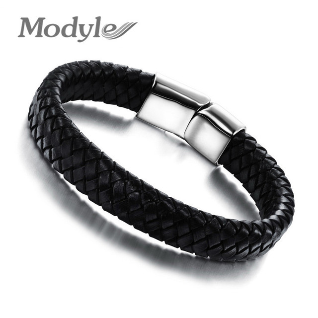 a14d348da6a5 Modyle 2018 Fashion Knitted Genuine Leather Rope Chain Man Bracelets  Classical Simple Design Men Jewelry With