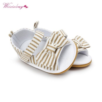WEIXINBUY Girls Summer Cute Tartan Princess Style Bowknot Breathable Non-slip Soft Bottom Cack First Walkers 0-18M 1