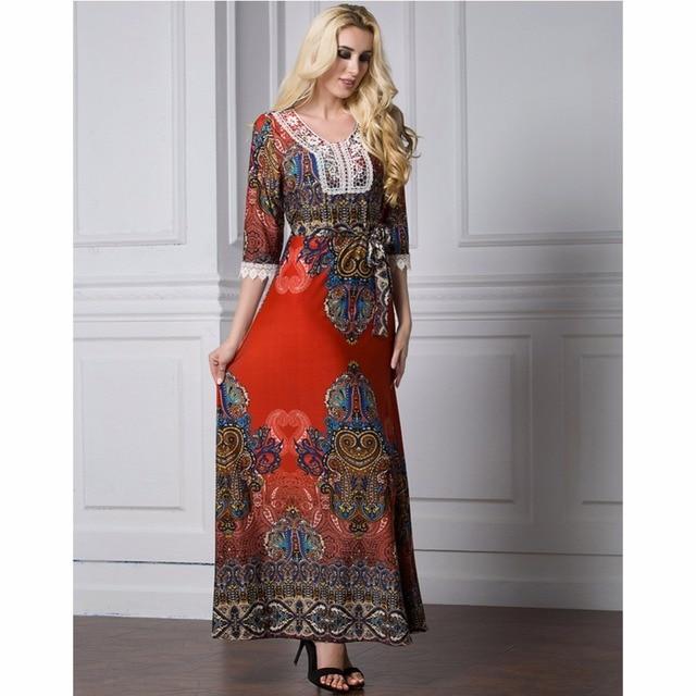 Islamic Abaya Dress Muslim Women Dress Long Sleeve Abaya Clothing Robe Kaftan Bohemia Style Silk Lace Red