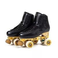 Children Adult Figure Roller Skating 4 wheels Double Row Two Line Roller Skates Shoes Patines En Linea PU Wheel White Black IB36