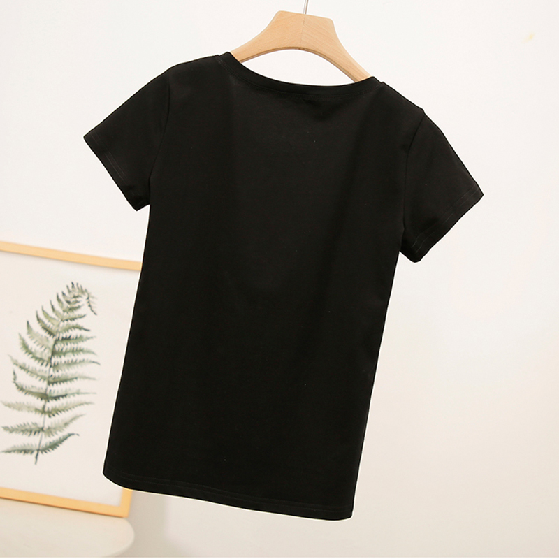 AOSSVIAO New Fashion T shirts Cotton Women Harajuku Tops Summer Short Sleeve Tees Slim T Shirt Women Letter White Poleras Mujer in T Shirts from Women 39 s Clothing