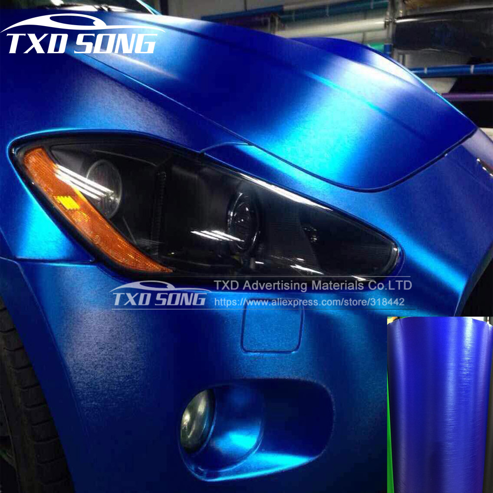 цена на New Brushed Matte Chrome Vinyl Car Wrap Film Sticker with Air Free Bubble by free shipping dark blue color brushed film