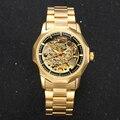 GANADOR de Oro Relojes de Los Hombres Relojes Esqueleto Mecánico Automático Relojes Correa de Acero de Negocios Militar Relogio masculino