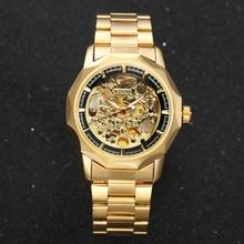 VENCEDOR Relógios de Ouro Homens de Negócios Militar relógios de Pulso De Esqueleto Mecânico Automático Relógios Cinta de Aço Relogio masculino
