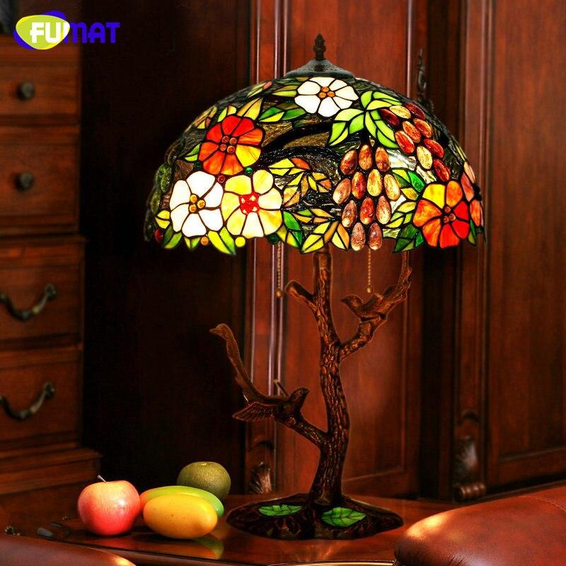 FUMAT Glas Tischlampe LED Glasmalerei Trauben Tiffany Lampe Wohnzimmer Hotel Oval Nachttischlampen Leuchte Dekor Table