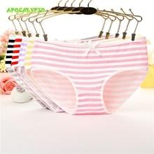 APOCAL 1PC 2 Pcs/set Womens Panties Striped Female Underwear Women Cotton Kawaii Bow Anime Briefs Cozy Lingerie Girls Bikini
