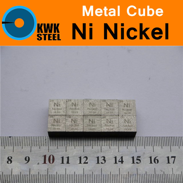 Ni Nickel Cube Coin Plate Sheet Bulk Block High Pure 99.95% Cut Metal Elements for Research Study University Collection