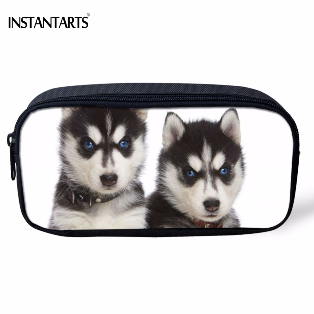 INSTANTARTS Big Capacity Children Pencil Case Funny 3D Animal Husky Dog/Puppy Printed Girls Boys Pencil Bags Kids Cosmetic Cases