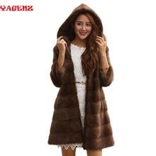 Женское Норковое меховое пальто зимнее женское длинное меховое пальто шуба из натуральной норки длинное теплое пальто с отворотом