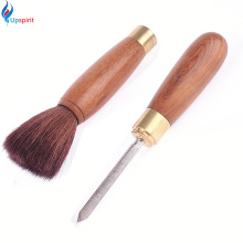 Natural Wood Tea Sets Brush Kungfu Teapot Tea Tray Cleaning Tools Stainless Puerh Tea Knife Needle Accessories Two-In-One