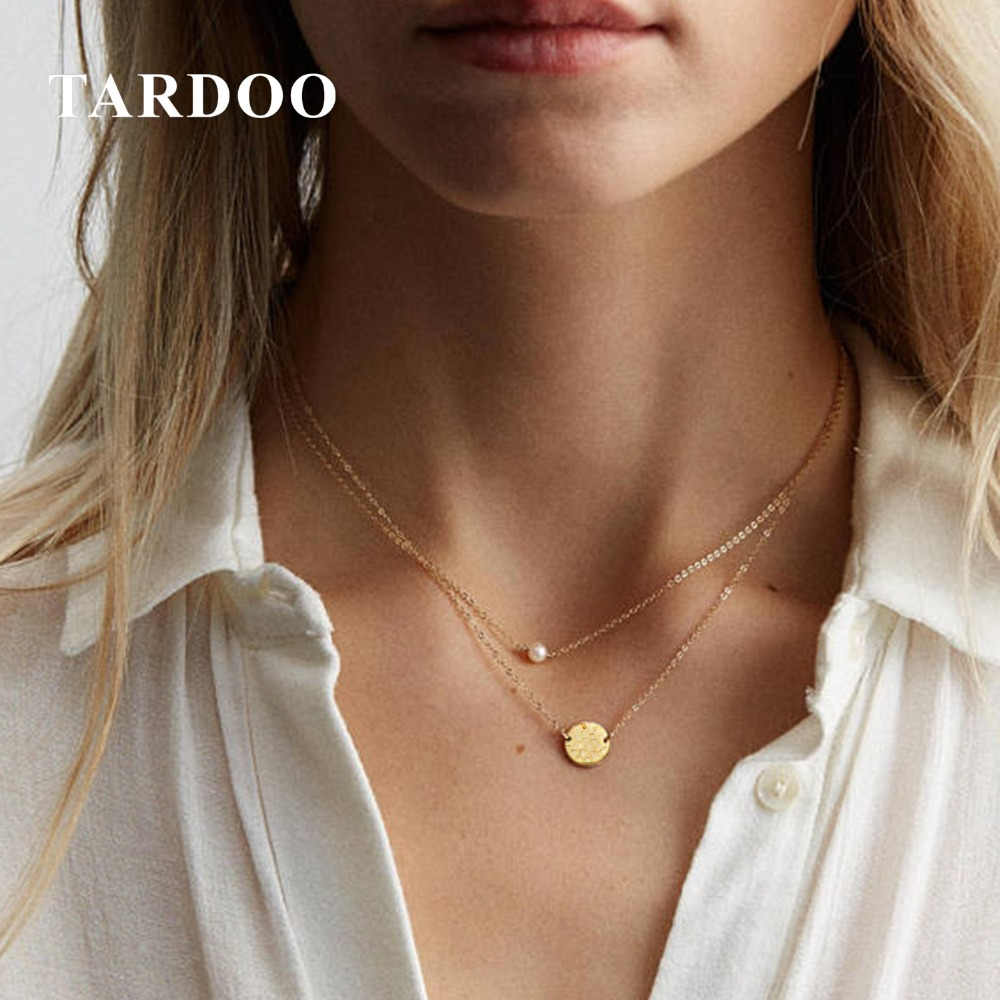 Tardoo Gold Chain Round Pendant Necklace 925 Silver Simple Round Necklace For Women Long Link Chain Gold Necklace Fine Jewelry tardoo golden moon pendant necklace 925 silver simple gold chain link crescent necklace women fine jewelry moon pendant necklace