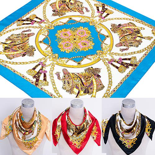 <font><b>90</b></font> x 90cm Square Women Imitated Silk Satin Carriage Chain Neck Head Scarf Shawl image