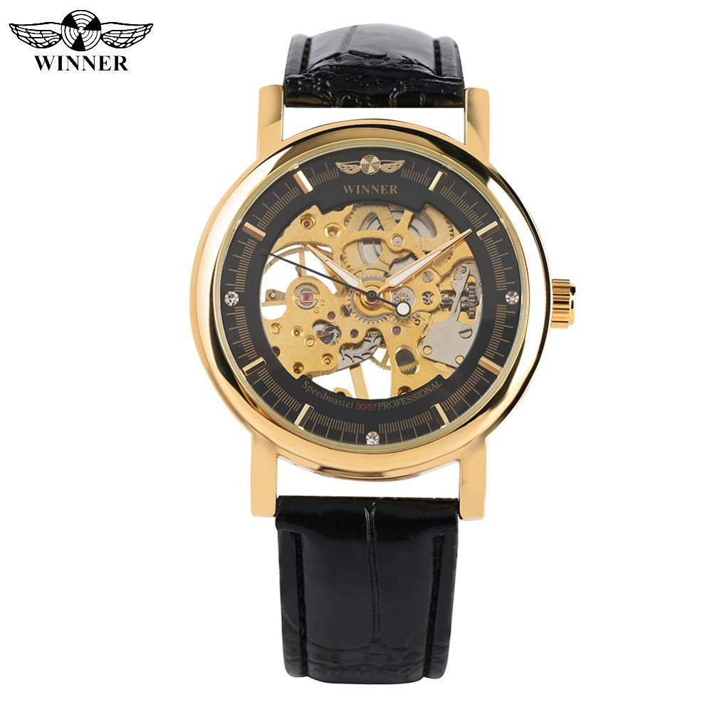 WINNER Fashion Mechanical Watch For Men Golden Skeleton Hand-winding Mechanical Watch For Women Black Leather Band Watches Gift