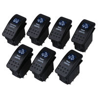 7PCS 12V 20A Bar 5 Pin Rocker Toggle Switch Blue LED Light Car Boat