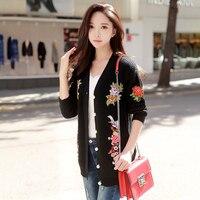 Original 2017 Brand Autumn Winter Sweater Coat Female Black Appliquies Floral Knitted Cardigan Women Wholesale