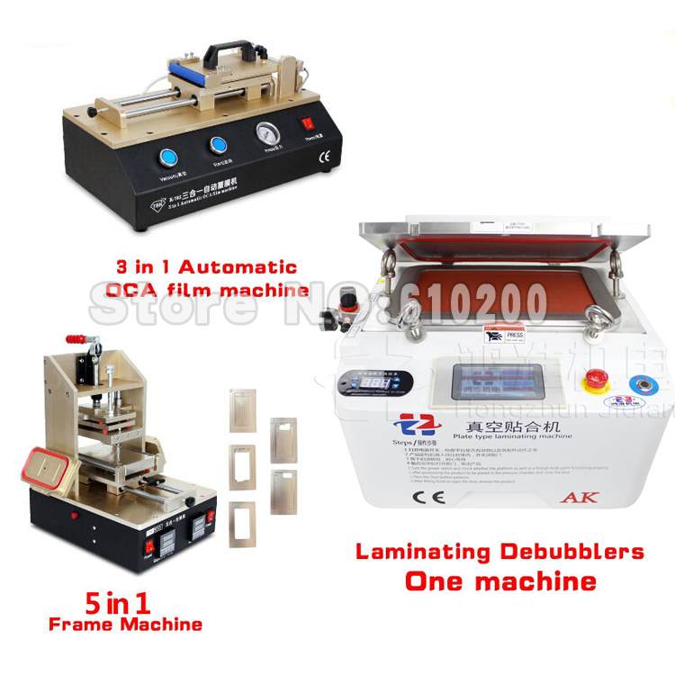 NEW KA OCA Vacuum Laminating machine Remover Machine Debubbler Integrated+5 in1 Frame Separator+3 in1 Automatic OCA film machine