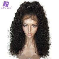 Луффи бразильский вьющиеся бесклеевой предварительно сорвал Full Lace натуральные волосы парики с ребенком волос не Реми бесплатная часть нат