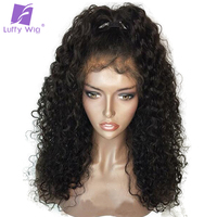 LUFFY Brazilian Curly Glueless Pre Plucked Full Lace Human Hair Wigs With Baby Hair Non Remy Free Part Natural Black For Women