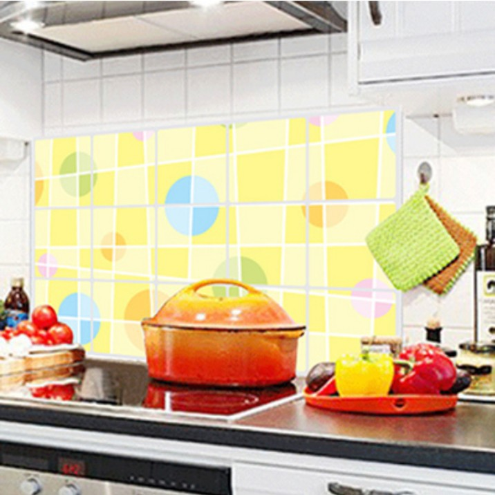 New Large High Temperature Aluminum Foil Stove Tile Anti Oil Dirt Kitchen Yellow Circle Oil Stickers Wall Stickers Aliexpress