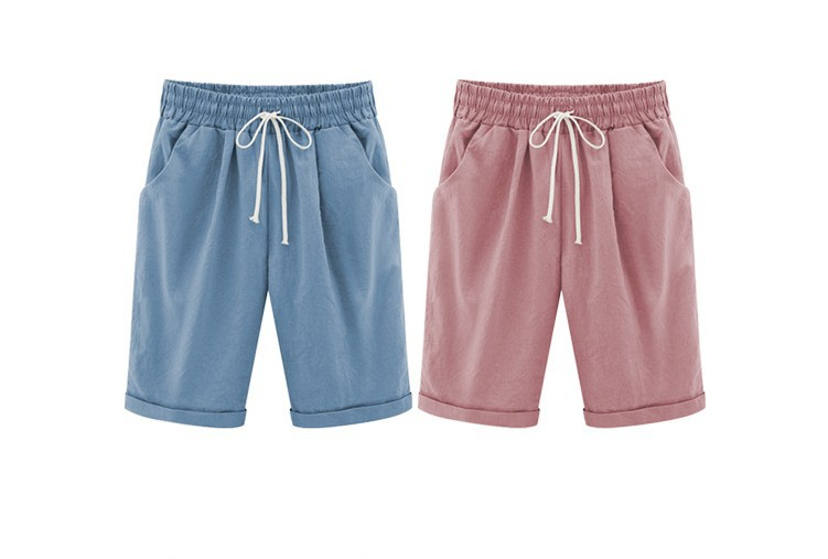 HTB19H02OkPoK1RjSZKbq6x1IXXap - Oversized Women Summer Cotton linen Shorts Casual Ladies Drawstring Elastic Loose Short Trousers Plus Size S-8XL WDC2019