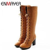 ENMAYER New-16 NJQL của Phụ Nữ Nửa Boots Khởi Động Đầu Gối Fanstion Boots Dropshipping EUR Kích Thước 34-43 trên Sale 40% OFF B6-24