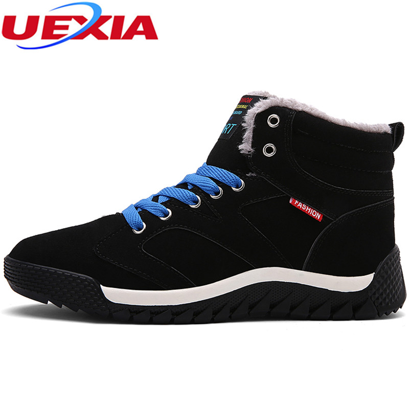 UEXIA Winter Fashion Leather Ankle Snow Boots Men Casual Moccasin Short Plush&Fur Shoes Men High Top Footwear Fashion Male Rubbe chilenxas autumn warm winter leather footwear shoes men casual new fashion ankle boots breathable light hard wearing anti odor