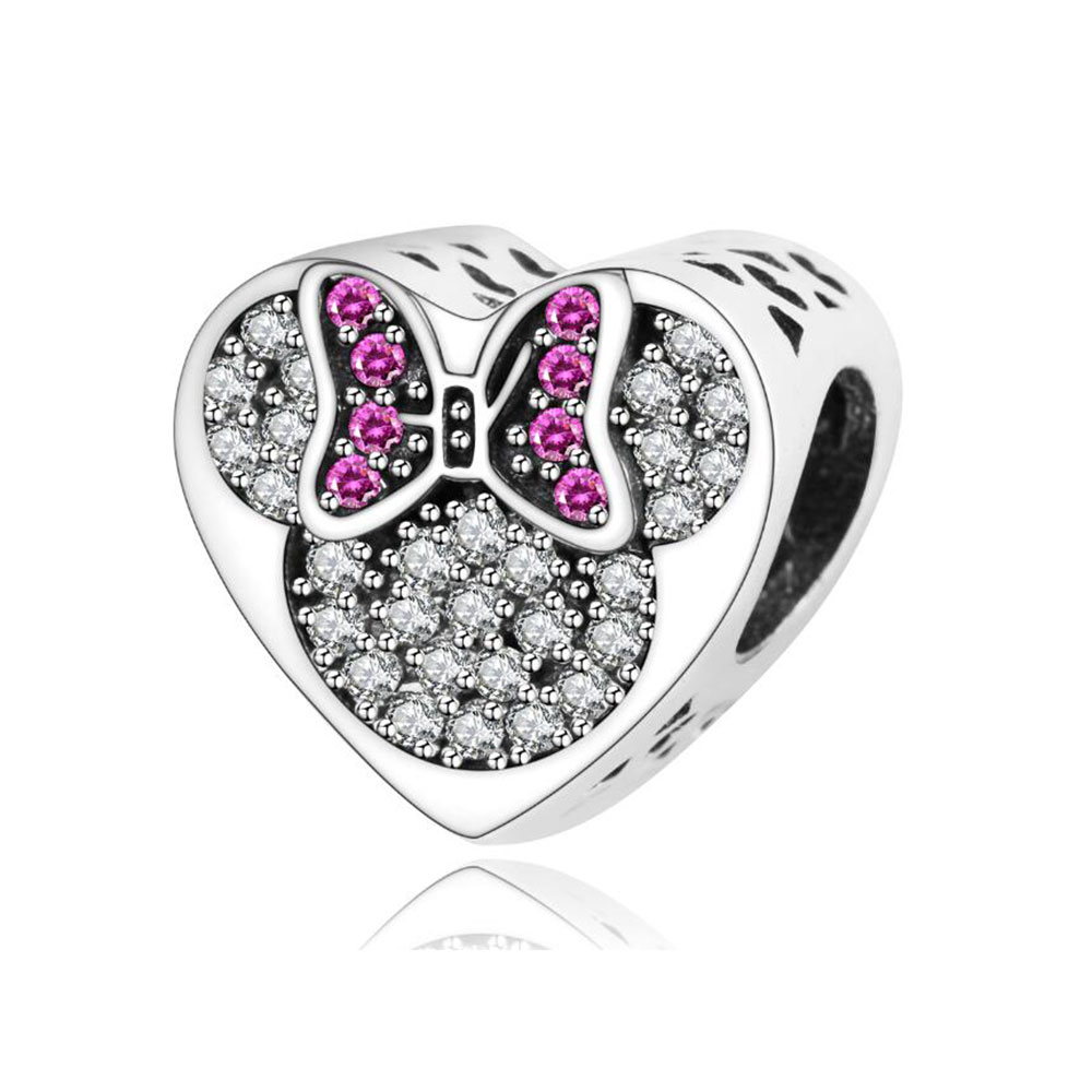 Classic 925 Sterling Silver Cartoon Heart Charms Beads With CZ Fits Original Pandora Charm Bracelet DIY Jewelry Making Berloque