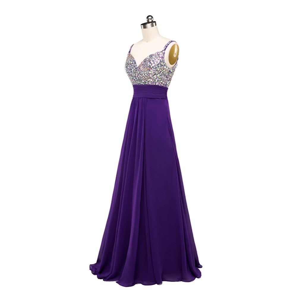 Spaghetti Rhinestones Beaded Bling Bling Purple Chiffon Long Bridesmaid Dress