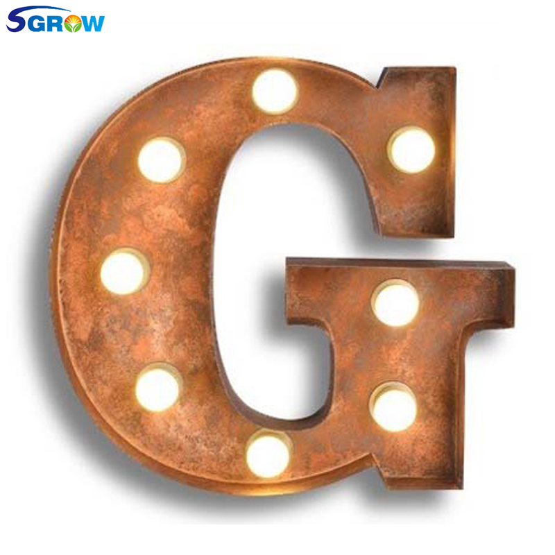 SGROW Metal Letter G Wall Lamp Light for Bedroom Living Room Art Lampara Industrial Creative Lights Logo G Iron Billboard Lamps
