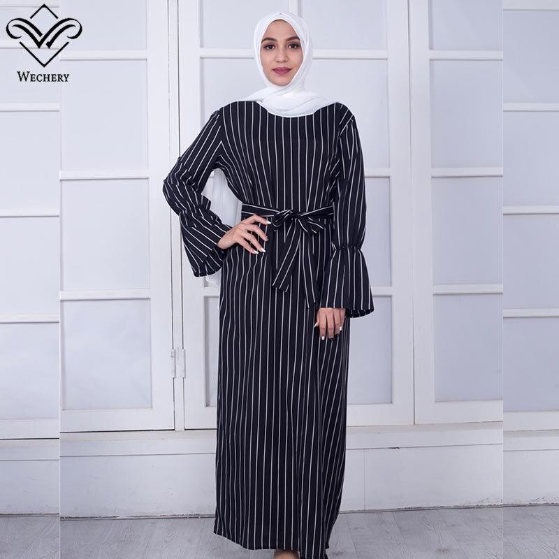 Wechery Women Striped Abaya Fashion Muslim Dress Trumpet