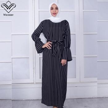 Wechery kobiety w paski Abaya moda muzułmańska sukienka maxi rękaw trąbkowy czarne białe długie sukienki islamska odzież