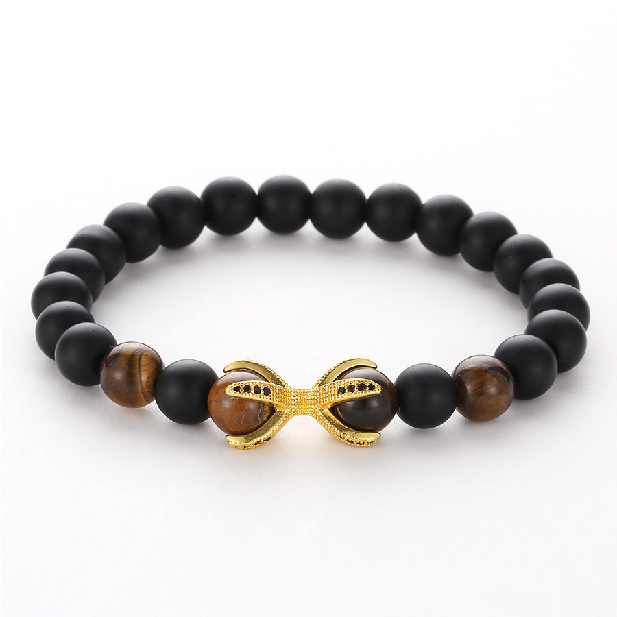 HOBBORN Punk Men Wrist Beads Bracelet 8mm Natural Black Matte Onyx Tiger Eye Mix Strand Octopus Micro inlaid Zircon Jewelry Cruz in Charm Bracelets from Jewelry Accessories
