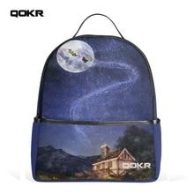 Qokr женщин Рюкзак пространство Galaxy печати сумки для девочек-подростков полет фантазии Dream рюкзак Zaino Холст Качество рюкзак