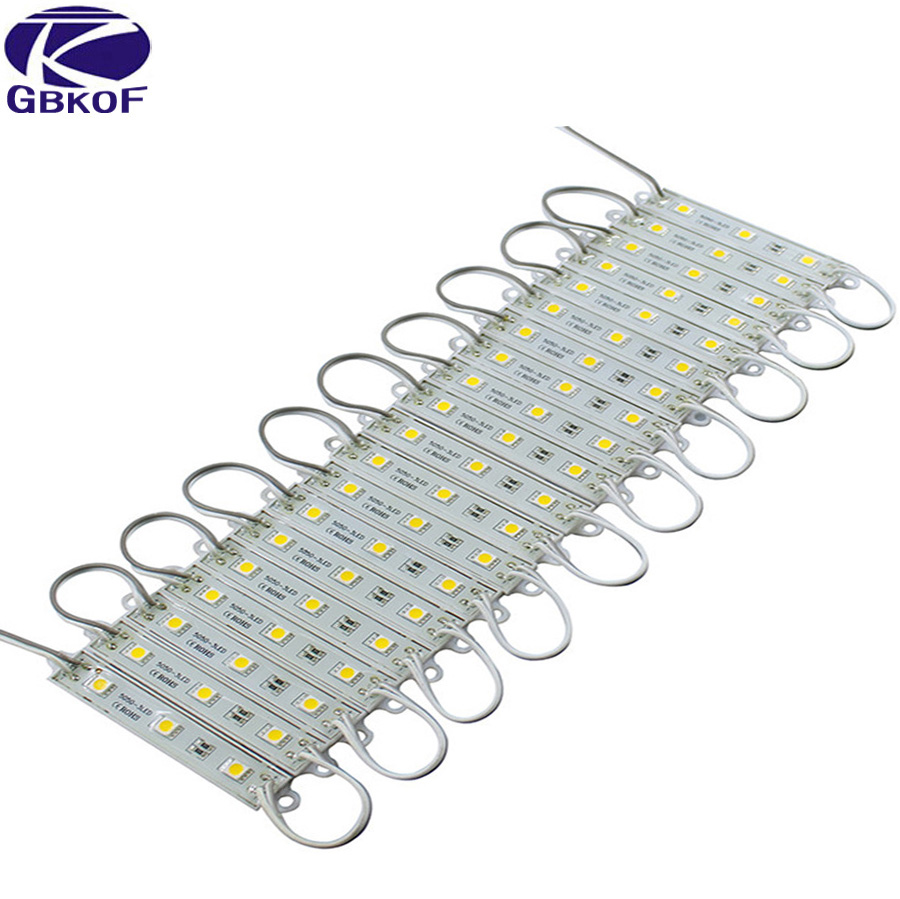 LED Module 5050 3 LED DC12V Waterproof Advertisement Design LED Modules White RGB Color Super Bright Lighting 10PCS/Lot