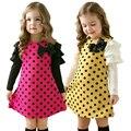 Novo 2017 Primavera Crianças Meninas Roupas Polka Dot Vestido de Algodão Fulll Luva Crianças Meninas Princess Dress Com Arco Roupa Dos Miúdos 2-7A
