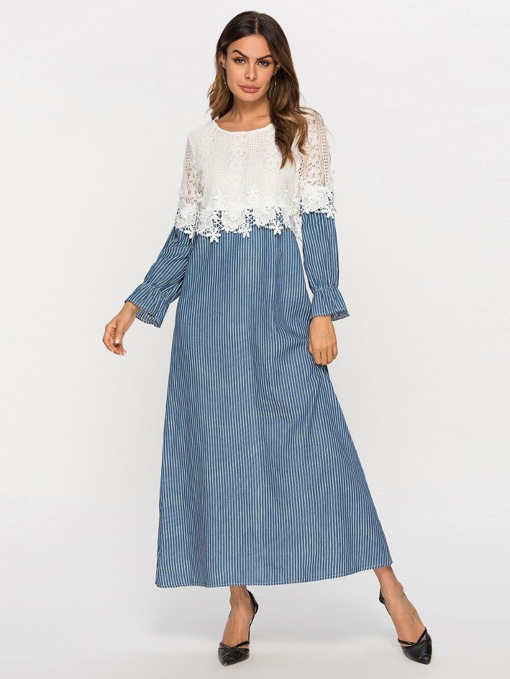 dc8b9bca6c Elegant Chic Embroidery Velvet Muslim Swing Maxi Dress Long Robe ...