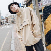 High quality autumn letter embroidered collar collar pullover loose jacket men's youth casual trend Korean version of the coat