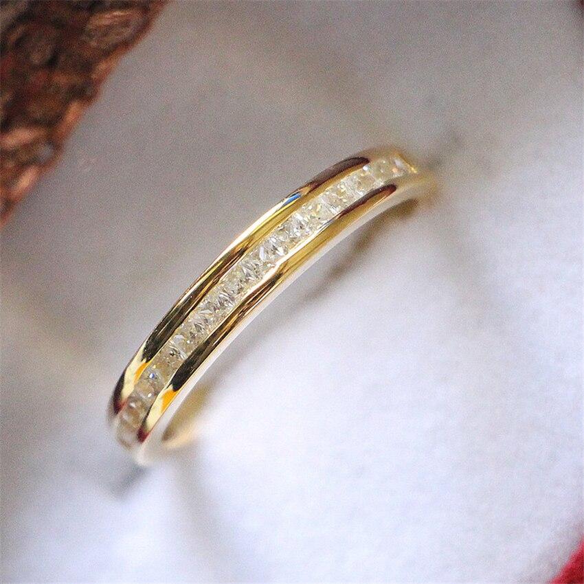 Обручальное кольцо из желтого золота с синтетическим бриллиантом, Женское кольцо, 925 пробы Серебряное обручальное кольцо