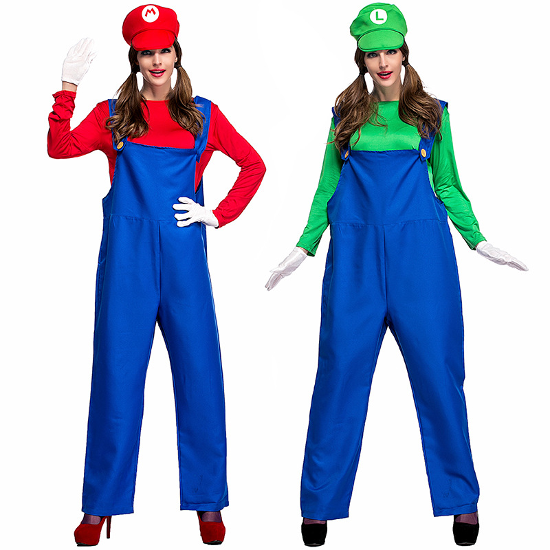 halloween purim party costume game super mario luigi brothers plumber costumes for women top pants set fancy cosplay clothing in game costumes from novelty