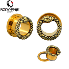 BODY PUNK Gold Snake Plugs and Tunnels Ear Piercing Rings Stainless Steel Screw Body Jewelry Gauges Earrings Fashion Gifts