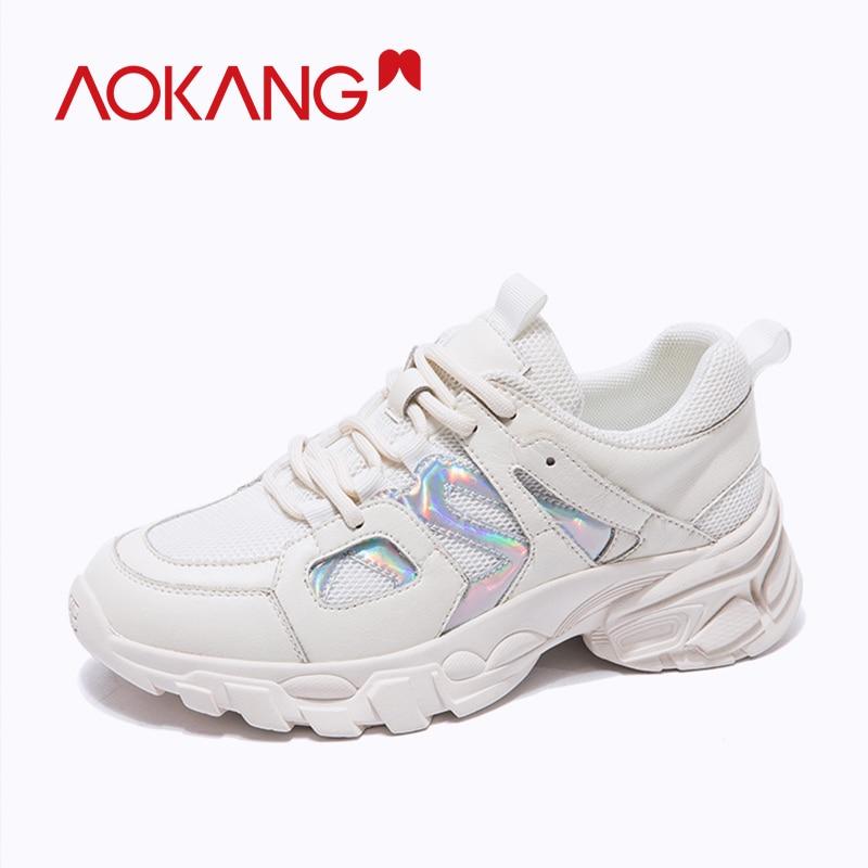AOKANG 2019 fashion ins shoes woman casual shoes soft sneakers lace up platform women shoes summer