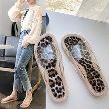 купить 2019 Summer Flats Slippers Outdoor Leopard Prin Soft PVC Sandals Women Home Slippers Slides Beach zapatos de mujer по цене 617.06 рублей