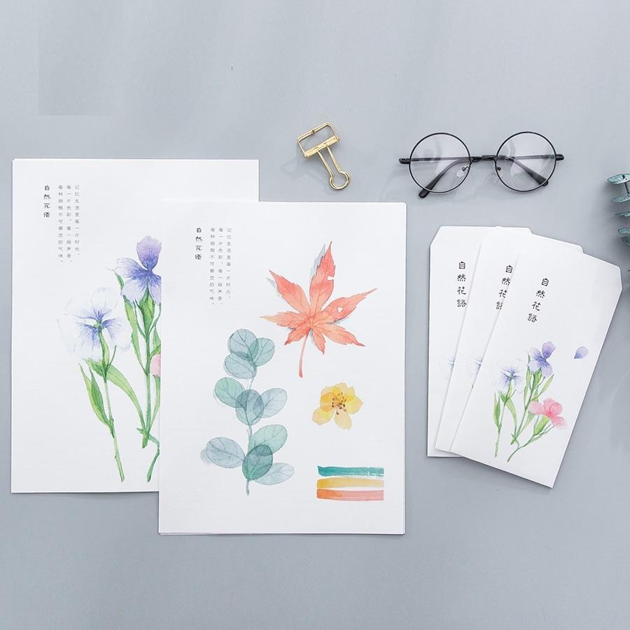 9pcs/Set 3 Envelopes + 6 Sheets Letter Paper Natural Color Series Envelope For Gift Korean Stationery