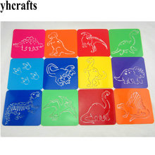 12PCS LOT Dinosaur art stencil 20 design paint template Birthday gifts Kindergarten toys PP drawing stencils