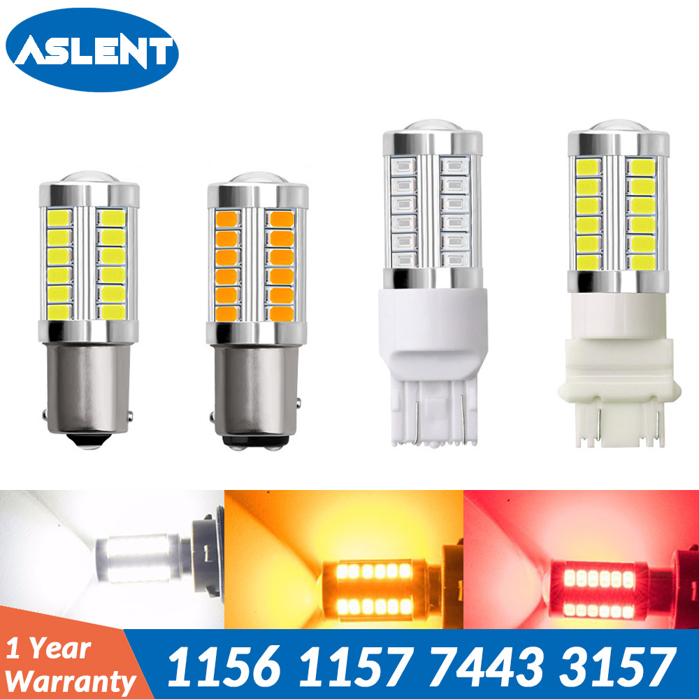 ASLENT T20 W21/5w 7443 LED Bulb T25 3157 p27/7w Car Brake Reverse Light 1157 BAY15D P21/5W 12V Lamp 1156 BA15S P21W Turn Signal